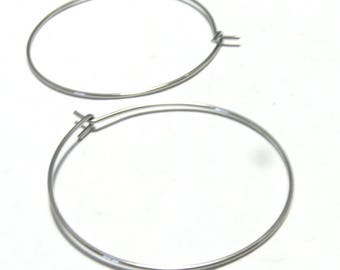 Earrings stainless steel rings 20mm PP 40pcs