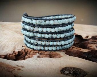 Leather Wrap Bracelet With Blue Lotus Jasper  On Black Leather