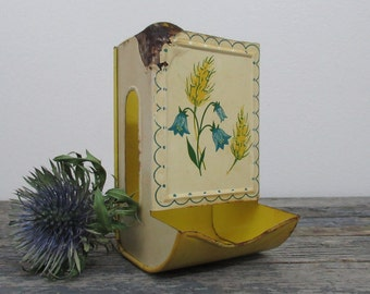 Match Box Holder, Vintage Kitchen, Wall Mounted Match Holder, Yellow Flowers, Country Kitchen, Kitchen Storage