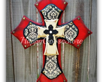Wall Cross - Wood Cross - Medium - Antiqued Red & Cream with Aged Black/Cream Damask