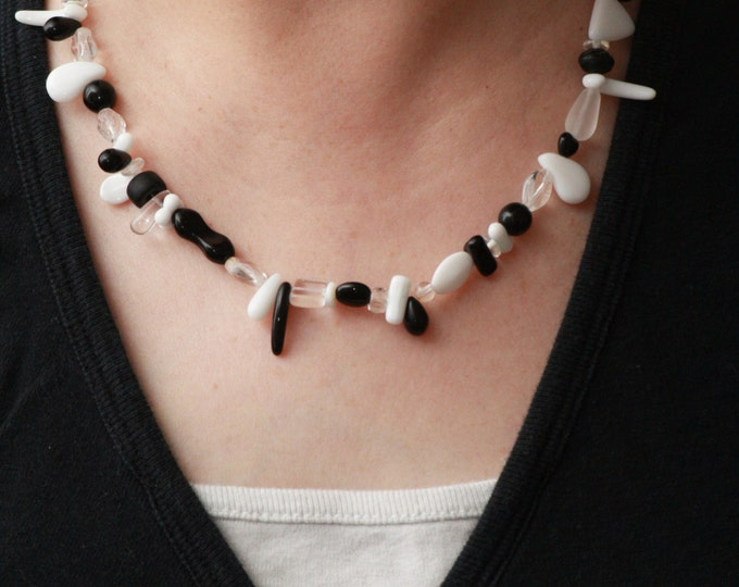 Black and White Spiked Gothic Halloween Beaded Statement Necklace, Black White Spiked Asymmetrical Tribal Tooth Necklace