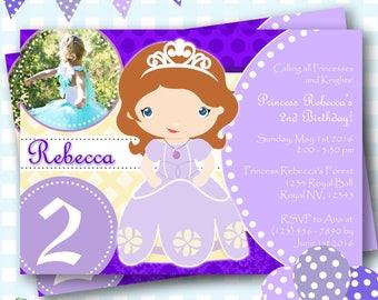 Princess Sofia Invitation, Sofia the First Birthday Invitations, Princess Invitation, Princess Sofia Invite, Sofia Birthday Party - P854