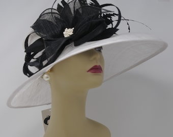Kentucky Derby Hat, Church Hat, Wedding Hat, Easter Hat, Tea Party Hat Wide Brim Woman's Sinamay Hat (White With Black)