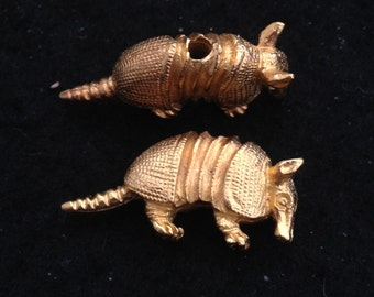 Vintage Gold Plated Pewter Armadillo