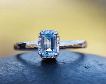 Blue topaz ring, gemstone ring,stacking ring , engagement ring,bohochic ring,solitaire ring,december birthstone ring,emerald cut ring