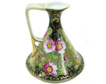 Antique Nippon Ewer Pitcher Hand Painted Moriage Unmarked