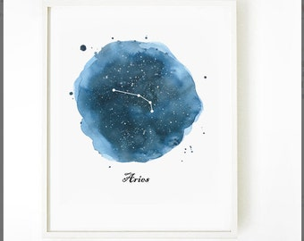 Aries Constellation Print, Watercolor Zodiac Painting Print, Astronomy Art, Watercolor Print