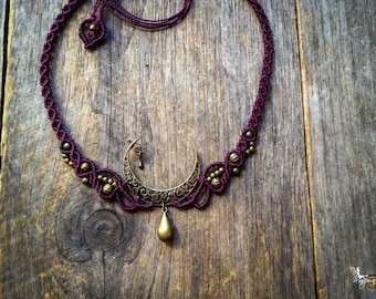 Macrame Elven Moon necklace boho bohemian jewelry Brass or Silver by Creations Mariposa