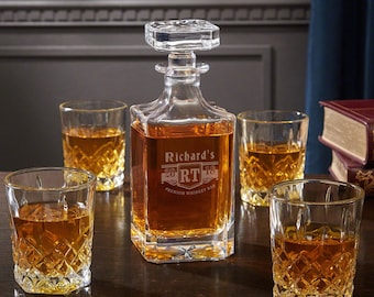Engraved Whiskey Decanter and Glasses - Personalized with Bedingfeld Design - Fantastic Birthday Gifts for Whiskey Lovers - Custom Gifts
