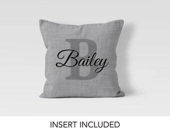 Gray Linen Monogram Pillow - Designer Monogrammed Initial Pillow - Letter Pillow - Housewarming gift - Personalized Monogram Gift