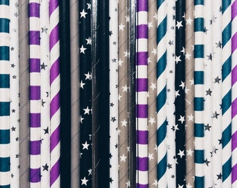 Space Party, Paper Straws, Children's party straws, Space themed, Galactic, Paper party Straws, birthday party, baby shower, space, straws