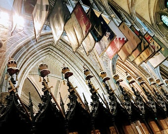 Medieval Banners and Helms - Ireland : Photography Print, Art Print, Wall Decor, Home Decor, St. Patrick's Cathedral, Dublin, Guards