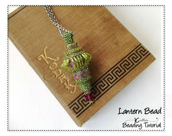 Peyote Stitch Pendant Beading Pattern and Tutorial Beaded Ornament Beadweaving Instructions DIY Seed Bead Jewelry Download Patterns LANTERN