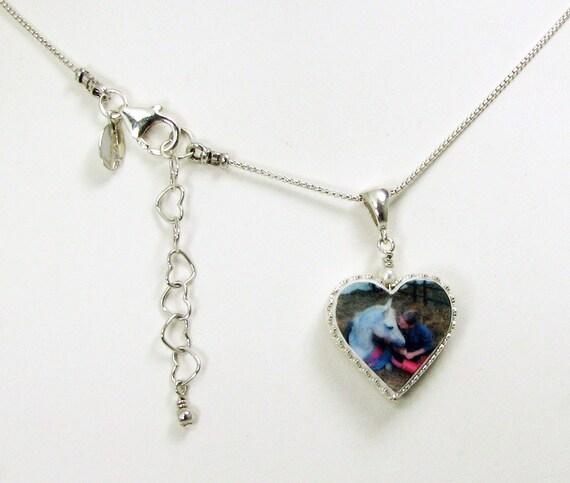 Heart Photo Pendant Framed in Silver