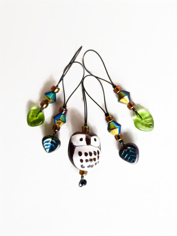 knitting stitch markers / dark brown owl woodland / gift / row counter tool / snag free stitchmarkers / popular knitter gift tool