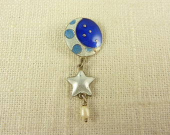 Vintage Sterling Enamel and Pearl Dangle Pendant