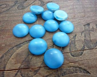 Vintage Cabochon Blue Satin Glass 15mm Cabochon (2) Cats Eye Glass