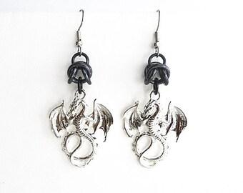 Black dragon earrings, Gothic jewelry, Chainmaille, Black dragon jewelry, Fantasy jewelry