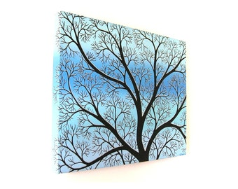Winter Branches Covered With Snow original painting - acrylic art of abstract tree silhouette on a blue and turquoise background (UK only)