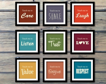 Teach Me To Be - Children Inspirational Wall Art Print - Set of 9, Choose your words and print size, Vibrant Colors