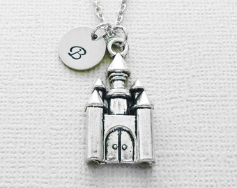 Castle Necklace, Fairytale, Princess, Cinderella,BFF, Friend Gift, Birthday Gift, Silver Initial, Personalized,Monogram, Hand Stamped Letter