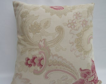 Laura Ashley Handmade Cushion, Red and Beige Floral Pillow, Decorative Pillow, Scatter Cushion, Zipped Cushion, Accent Pillow, Cotton, Linen