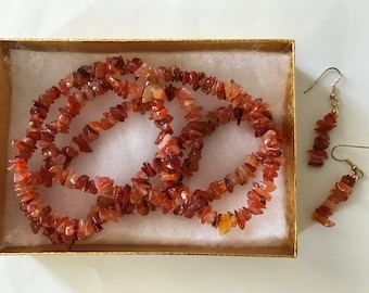 Carnelian Nugget Necklace and Earrings