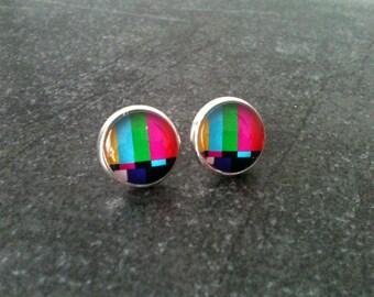 Tv test earrings, funny earrings, color earrings, hypoallergenic, kitsch stud earrings, geek jewelry, gift idea for her