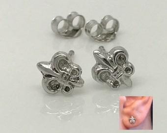 Fleur de lis sterling silver stud earrings, flower de lis earrings,  men's stud earrings,  silver earrings, small silver stud earrings, 466J