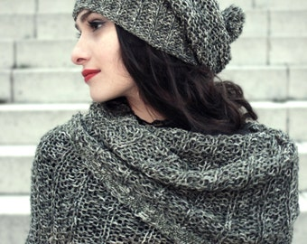 spring fashion - knit slouchy hat - woman winter hat - warm hat - womens knit hats - soft hat - pompon hat