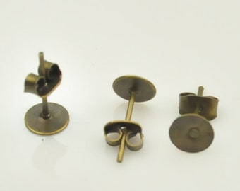 Earring Post:Antique Bronze Earring Post With Stopper Nut/Stud Backs / Nuts Pad 6mm,Qty 40X (20 pairs).