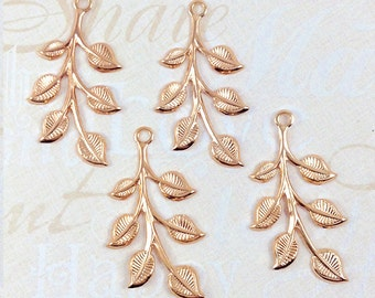 Rose Gold Leaves, Leaf Stamping, Brass Finding, Right Facing 20mm x 37mm - 4 pcs. (rg186)