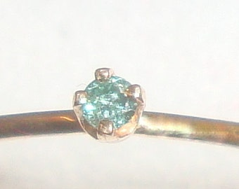 Ring Tiny blue diamond in 14k yellow gold solid, 2mm conflict free natural diamond, stack skinny engagement, ready to mail sz 6.5 or Custom