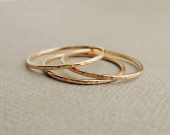 Thin Gold Rings textured sparkly stacking ring midi ring pinky rings or thumb rings
