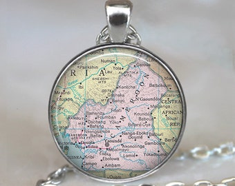 Cameroon map necklace, Cameroon map pendant map jewellery Cameroon pendant Cameroon Africa necklace key chain key ring key fob