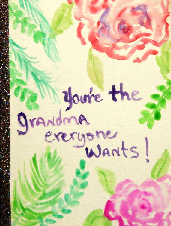 "Original Hand Painted Blank Note Card w/Envelope, Watercolor Painting, ""Grandma,"" Folk Mother's Day, Signed Artwork by Stacey Torres"