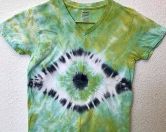 Small Green and Black Eye Tie Dye T-Shirt