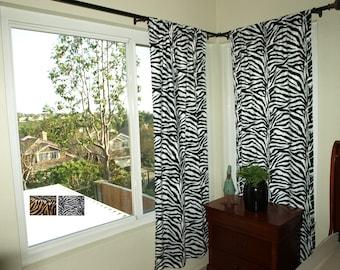 Zebra Print Curtain Set VARIOUS SIZES