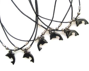 6 Hematite Dolphin Necklaces with clip-on clasps. Stocking stuffer, Party favors/supplies