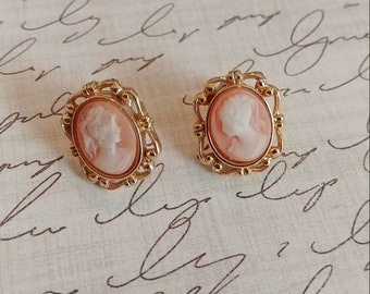 Adorable pink cameo earrings for pierced ears