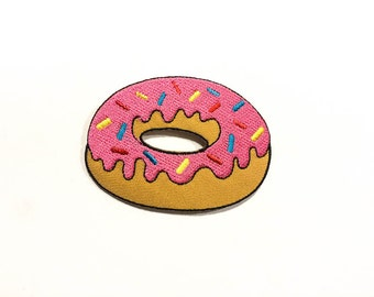 Donut Iron-on Patch - Pink Frosting Donut Embroidery - Food Appliqué - Transfer - Sticker - Homer The Simsons - Choose your size (P113)