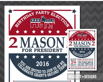 Election Birthday Invitation, Election Party, Election Party Invite, Election Birthday Invite, President Party, Democrat, Republican