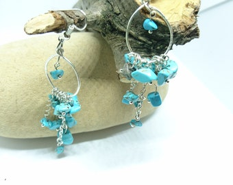 Turquoise Stone Chip Gemstone Earrings
