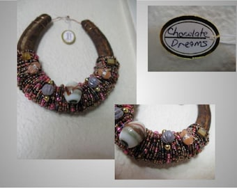 Beaded Horseshoe Art-(Chocolate Dreams) - Free Shipping in US