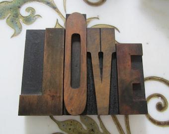 LOVE Letterpress Wood Type Printers Blocks