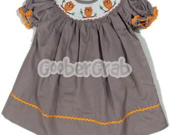 Orange Owl Smock Dress