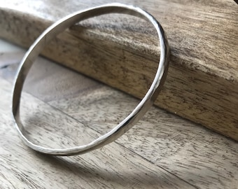 Chunky Solid Silver Hammered Bangle