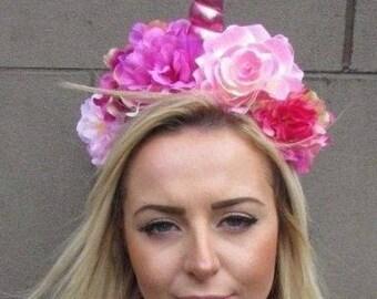 Hot Light Pink Unicorn Horn Rose Flower Headpiece Headband Adults Girls 4902