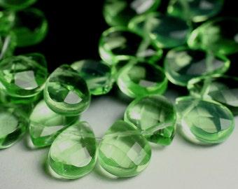 Spring green quartz large faceted teardrop 18x12mm, 2 pcs (item ID L08GQFT12x8)