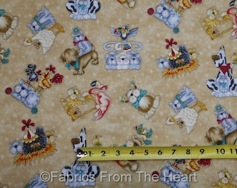 No Fowl Play Animals Dogs Cats Country Caboodle Tan BY YARDS Henry Glass Fabric